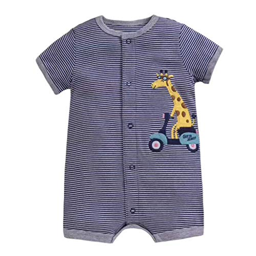 Emimarol Baby Infant Girl Boy Romper One-Pieces Cartoon Striped Printed Romper Bodysuit Clothes (0-24m) Yellow