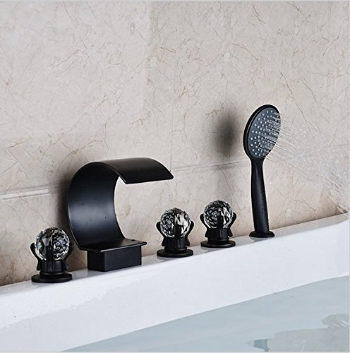 GOWE Oil Rubbed Bronze Waterfall Spout Bath Tub Sink Faucet Deck Mounted Widespread 5 Holes Bathtub Mixers color: style 2 2