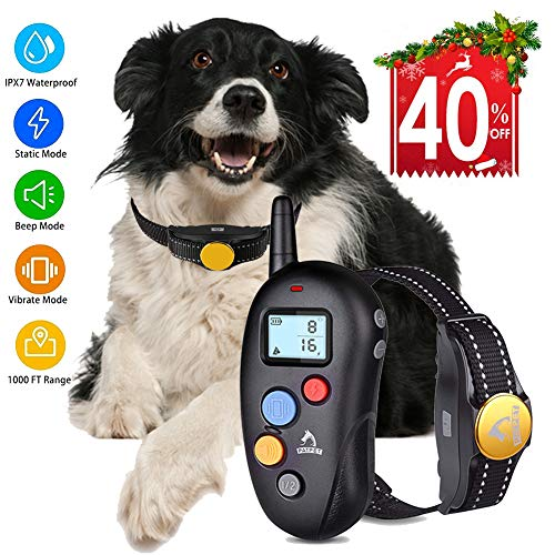 Dog Training Collar Shock Collar for Dogs, Shock Dog Training Collar with Remote 100% Waterproof Barking Collar with Beep Vibration Shock E-collar Dog Training Collar for Small Medium Large Dogs