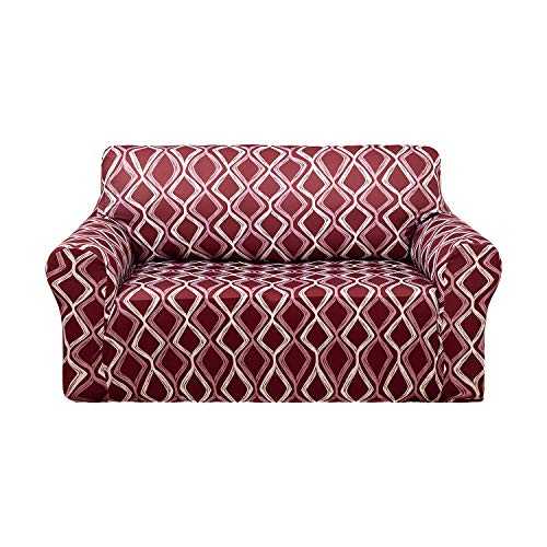Deconovo Trellis Print Sofa Slipcover Spandex Stretch Strapless Sofa Cover for Loveseat Burgandy (Leather Red Settee)