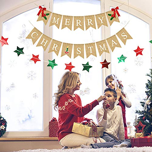 YBB Merry Christmas Burlap Banner with 2 Red Bows and Sparkling Red Green Star Garland, Christmas Home Garden Indoor Outdoor Banner Bunting Decoration for Wall Tree (Stores Garland Furniture)