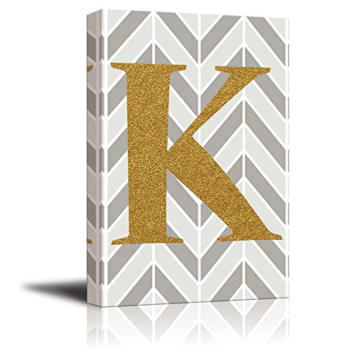 The Letter K in Gold Leaf Effect on Geometric Background Hip Young Art Decor