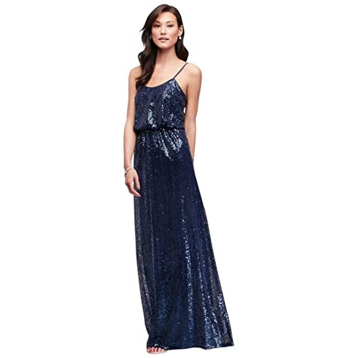 Davids Bridal Allover Sequin Blouson Tank Bridesmaid Dress Style