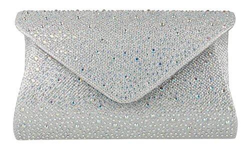 Girly HandBags Gemstones Design Clutch Bag Silver