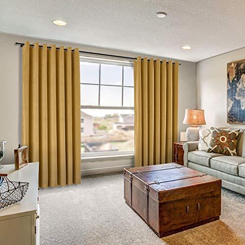 - Drapifytex Extra Long 50'' x 120'' Loft Velvet Curtain Wheat Drapery Soft Drape Grommet Blackout Panel for Livingroom Bedroom Theater