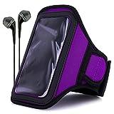 VanGoddy Neoprene Workout Armband for ZTE Maven / ZTE Obsidian / ZTE Paragon / ZTE Zephyr / ZTE Speed with Headphones & Wristband, Purple