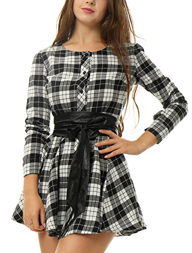 Allegra K Women Plaids Long Sleeves Belted A Line Shirt Dress XL White Black - Plaid Dress Shorts