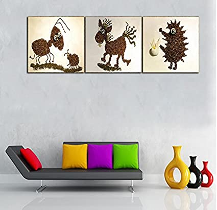 Guasha Hedgehog Ant Horse Coffee Beans Animal Creative Canvas Painting Unframed Wall Art Kids Room