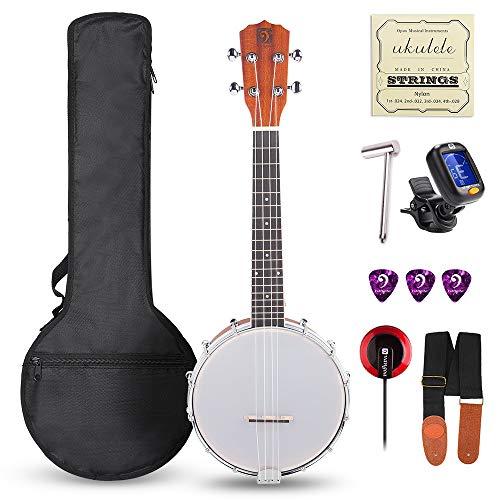 Vangoa 23 Inch 4 Strings Concert Banjo Ukulele Kit with Wretch, Padded Bag, Tuner, Pick, Nylon Strings and Pickup