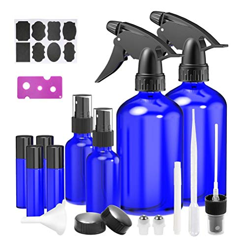 Glass Spray Bottles, 2 Trigger Sprayers with Screw Cap, 2 Mist Sprayers, 4 Roller Bottles for Essential Oils, Cleaning Products, Aromatherapy with Labels and Washable Marker, Cap, Dropper, Roller Ball