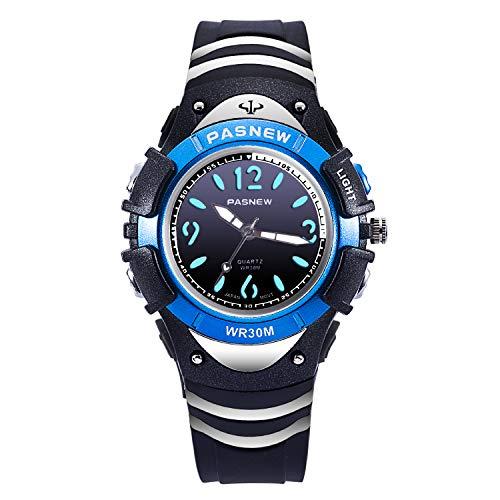 Boys Watch Kids Analog Wrist Waterproof 7 Color Backlight Outdoor Sport Watches for Children,Easy Reader Quartz Watch