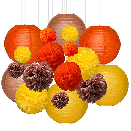 HENMI 18 Pcs Fall Party Decorations including 12 Pcs Tissue Paper Pom Poms Flower Ball and 6 Pcs Paper Lanterns for Autumn Thanksgiving Decorations Fall Harvest Decorations Birthday Party Décor,3 Size