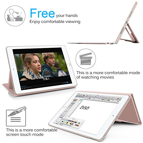 IVSO Apple iPad pro 10.5 inch Stand Case with Wireless Keyboard, Ultra-Thin Stand Cover Case for Apple iPad pro 10.5 inch 2017 Tablet (Rose Gold) by IVSO (Image #6)