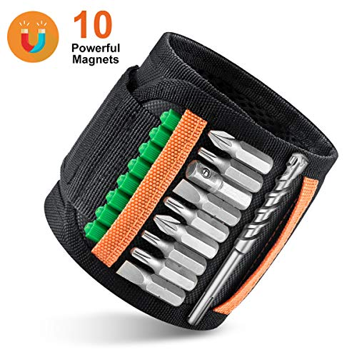 Magnetic Wristband with 10 Strong Magnets for Holding Screws, Nails, Drill Bits, Magnetic Tool belt is the Best…