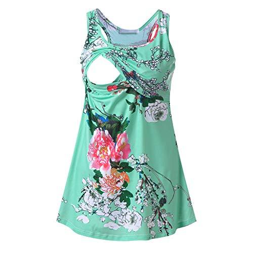 SAYEI Women Maternity Summer Print Nursing Tops Round Neck Breastfeeding Loose Clothes -