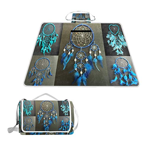 - SHNUFHBD Blue Dream Catcher Boys Girls New Gift Picnic Blanket Foldable Waterproof Set with Backpack Custom Portable Mat for Outdoor Camping Hiking Travelling 57