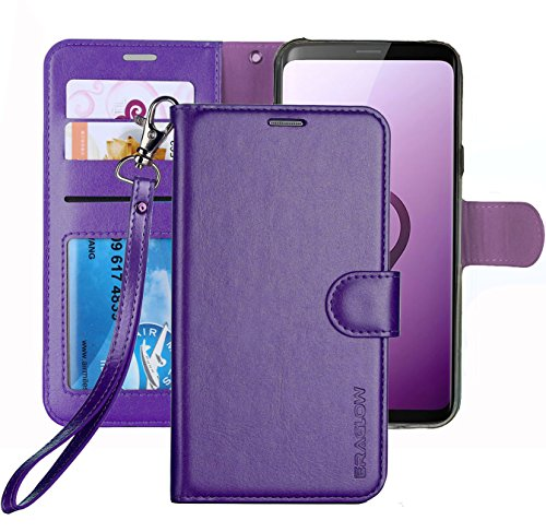 Galaxy S9 Wallet Case, Galaxy S9 Case, ERAGLOW Premium PU Leather Wallet Flip Protective Case Cover with Card Slots and Kickstand for Samsung Galaxy S9 (Purple)