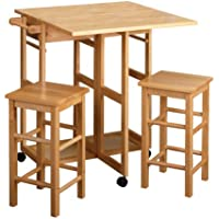 Winsome Drop Leaf Kitchen Island with 2 Square Stools