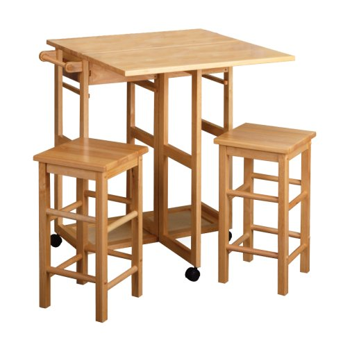 Winsome Wood Table Drop Leaf Square Stool, Natural (Bar Set Table Stools And Breakfast)