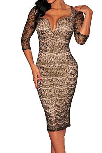 Agatha Garcia Women's Black Gold Shimmer Nude Illusion Padded Midi Dress