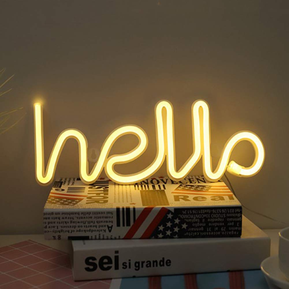 LED Hello Shape Neon Word Sign Neon Letters Light Art Decorative Lights Wall Decor for Baby Room Christmas Wedding Party Supplies