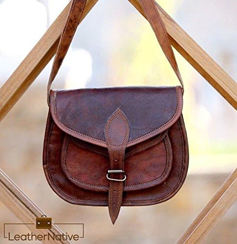 a95e259b7130 Leather Native Women s Leather Purse Gypsy Bag Crossbody Women Handbag  Shoulder Travel Satchel Tote Bag 7x9x3 Inches Brown Tis The Season Sale!!!
