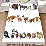iPrint Bed Skirt Cover 3D Print,Animals Collection of Wild Creatures in Nature,Fashion Personality Customization adds Color to Your Bedroom. by 90.5''x96.5''