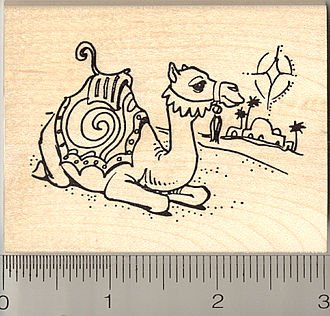 Camel in Bethlehem Christmas Rubber Stamp - Wood Mounted