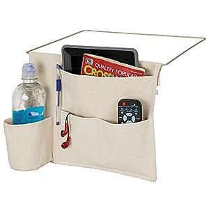 mDesign Bedside Storage Organizer Caddy Pocket - Slim Space Saving Design, 4 Pockets - Durable Heavy Weight Cotton Canvas – Holds Water Bottles, Books, Magazines, Cream/Wire Insert in Matte Satin