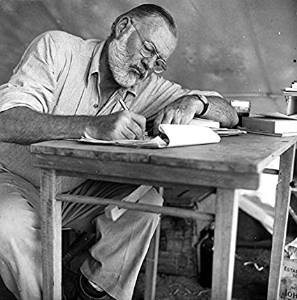 Groovy Ernest Hemingway At Desk Writing Photo Great Authors Photos 8X8 Unemploymentrelief Wooden Chair Designs For Living Room Unemploymentrelieforg