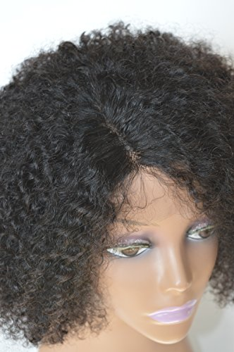 Chantiche Silk Top Invisible Deep Parting Short Kinky Curly Lace Wigs For Black Women Natural Looking Brazilian Remy Human Hair Wigs With Right Part 14 Inch #1B(GL-0103) by Chantiche Lace Wig (Image #6)