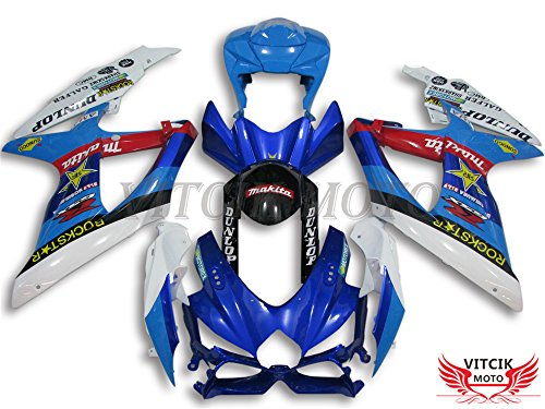 Gsxr750 Fairings (VITCIK (Fairing Kits Fit for Suzuki GSX-R750 GSX-R600 K8 2008 2009 2010 GSXR 600 750) Plastic ABS Injection Mold Complete Motorcycle Body Aftermarket Bodywork Frame (Blue & White) A050)
