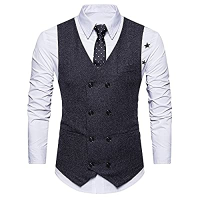 RTYou Men Double Breasted Waistcoat Business Jacket Retro Slim Fit Business Formal Dress for cheap c8KzoFTh