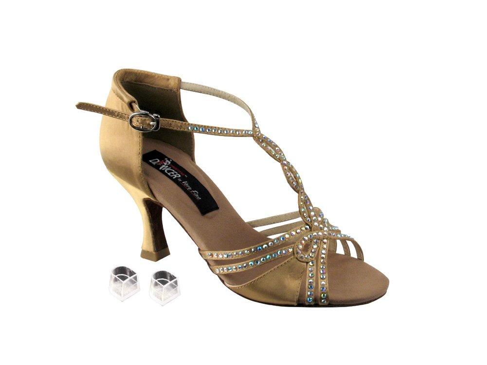 Very Fine Ladies Women Ballroom Dance Shoes EKCD2801 Tan Satin 3'' Heel (7.5M)