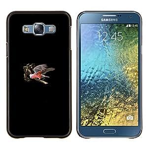 KLONGSHOP // Cubierta de piel con cierre a presión Shell trasero duro de goma Protección Caso - Minimalista Parrot Tree - Samsung Galaxy E7 E700 //