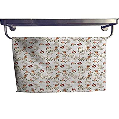 """alisoso Floral Extra Wide Bathroom Accessories Nostalgic Romance with Bikes Baskets Full of Poppy Flowers Baskets Love Birds Spring Luxury Hand Towels Set W 10"""" x L 10"""" Multicolor"""