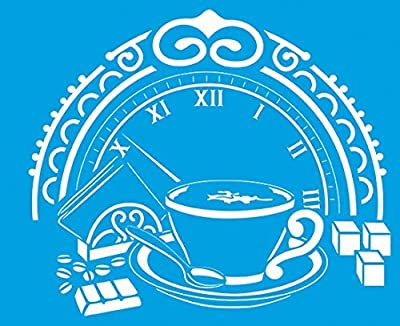 "8.3"" x 6.8"" (21cm x 17cm) Reusable Flexible Plastic Stencil for Graphical Design Airbrush Decorating Wall Furniture Fabric Decorations Drawing Drafting Template - Vintage Coffee Tea Cup Time Clock"