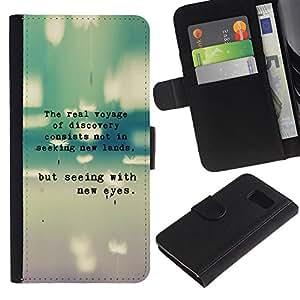 All Phone Most Case / Oferta Especial Cáscara Funda de cuero Monedero Cubierta de proteccion Caso / Wallet Case for Samsung Galaxy S6 // Inspiring Quote Typewriter Teal Message