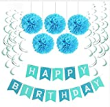 Sopeace Birthday Party Pack – Blue Happy Birthday Bunting, Poms, and Swirls Pack- Birthday Decorations - 21st - 30th - 40th - 50th Birthday Party Supplies