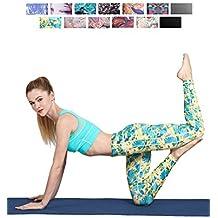 FINEMORE Women Girl High Waist Printed Yoga Pants Stretchy Pilates Workout Sport Yoga Leggings Regular Plus Size