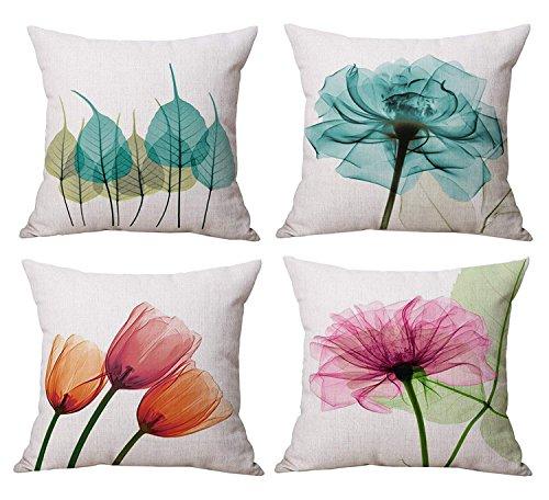 Set of 4 18 inch Linen Cotton Square Throw Pillow Cover Decorative Cushion Case (Floral Set)
