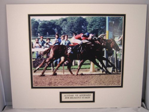 Affirmed Alydar 1978 Belmont Stakes Triple Crown Double Mat Official Coglianese Photo Embedded Label Unsigned by Treasure Chest Shop