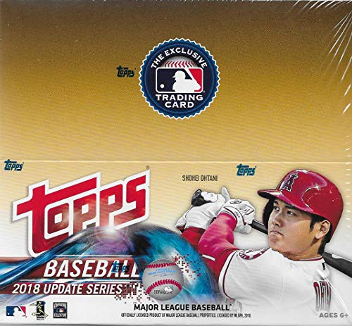 - 2018 Topps Update Series Baseball Unopened Factory Sealed Retail Box with 24 Packs of 12 Cards each (288 cards total) Including Possible Rookies Autographs and Game Used Jersey Cards