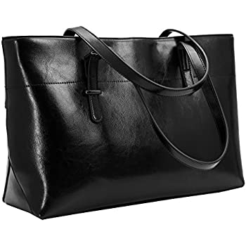 a9a30f80da Iswee Vintage Leather Shoulder Handbags for Women Large Work Tote Bag  Designer Fashion Ladies Purses (Black)
