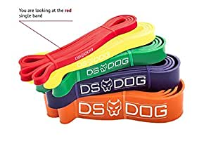 Resistance Band By DS DOG - Workout Band with 10-35 Pounds Resistance - Crossfit Pull Up Bands for Home or Gym - Powerlifting Exercise Bands - Extra Durable Natural Latex - with eGuide - Red