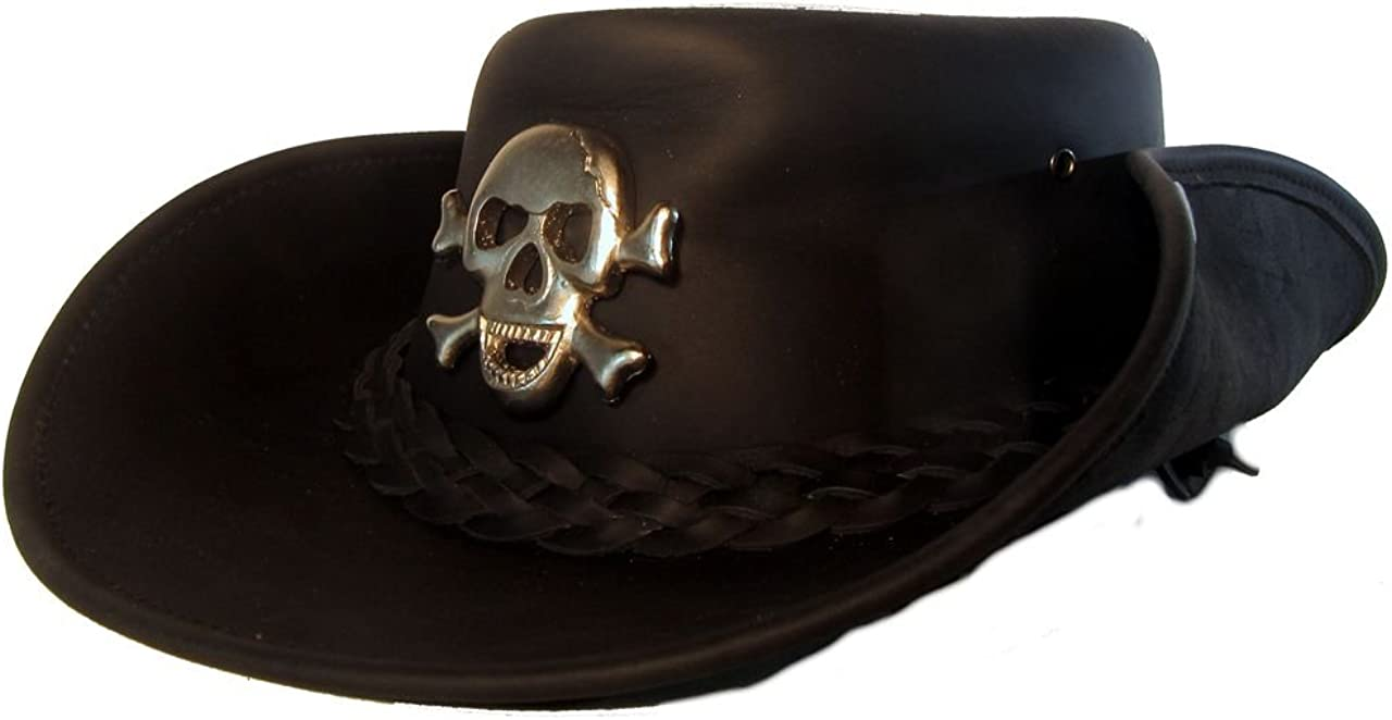 Sombrero de vaquero H15 con calavera Lemmy Style de piel de vacuno de alta calidad