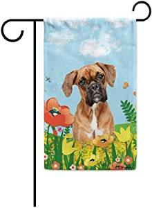 BAGEYOU Hello Spring Floral with My Love Dog Boxer Garden Flag Summer Flower Home Decor Yard Banner for Outside 12.5 x 18 Inch Printed Double Sided