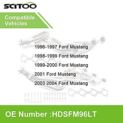 SCITOO Auto Replacement Exhaust Manifold Kits, Front Long Tube Header Exhaust Manifold Set Stainless Steel fit Mustang GT 4.6L 1996-2004: Automotive