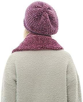 AMAOZI/Ensemble Bonnet et /écharpe dhiver pour Les Femmes tricot/ées Chapeau Chapeau Skullies en Coton Bonnet Femme et /écharpes Gants Ensemble