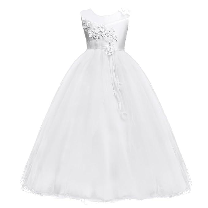 Fiore Ragazze Bambina Lungo Cerimonia Ricamo Vestito Elegante Bambini  Principessa Formale Pageant Bianco 5-6 ae273ec954b